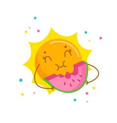 Funny sun enjoying eating watermelon cute cartoon vector