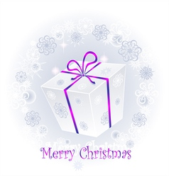 Gift in a box with a bow on a background of snowf vector image