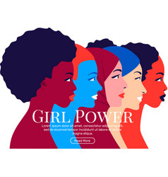 Girl power young multi ethnic women profile vector
