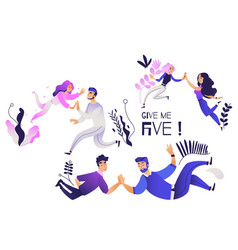 Give me five gesture set - various pairs of people vector