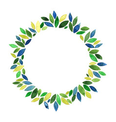 green leaves wreath watercolor frame vector image