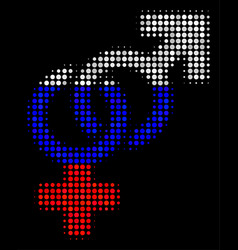 Halftone russian heterosexual symbol icon vector