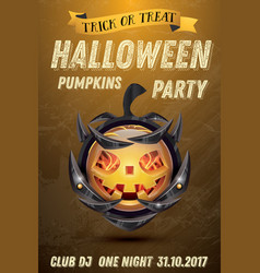 Halloween party flyer with pumpkin with fire vector