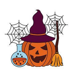 halloween pumpkin with witch hat and set icons vector image