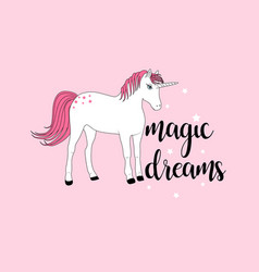 hand drawing sweet unicorn vector image