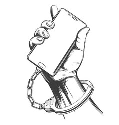 Hand handcuffed to smartphone social media vector