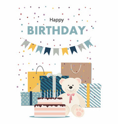 happy birthday card with teddy bear cake gifts vector image
