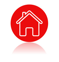 Home icon red round sign with a building vector