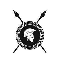 Illstration spartan helmet and shield vector