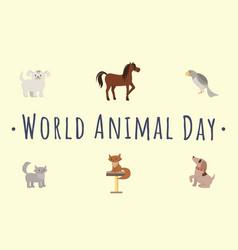 international animal day template cartoon vector image