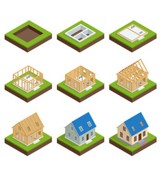 Isometric set stage-by-stage construction a vector