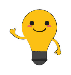 lightbulb happy cartoon character waving hand icon vector image