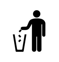 man throwing garbage in the urn vector image