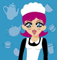 manga girl maid vector image