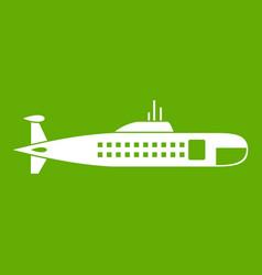 military submarine icon green vector image