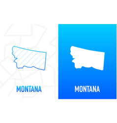 Montana - us state contour line in white vector