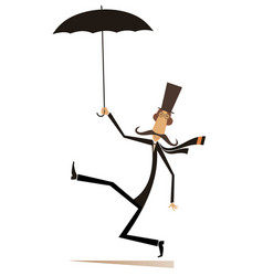 Mustache man in the top hat with umbrella vector