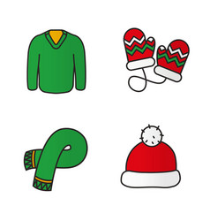 New year clothes color icons set vector