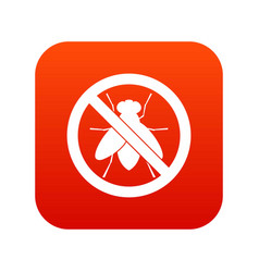 no fly sign icon digital red vector image