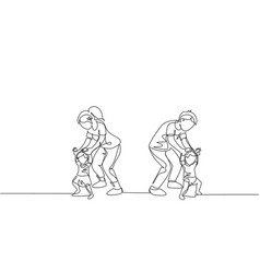 one single line drawing young parents teaching vector image