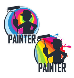 Painter with paint roller in hand vector
