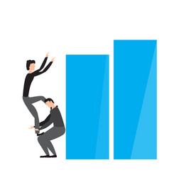 pair of businessmen on a business graph vector image