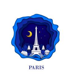 paris city of france in digital craft paper art vector image