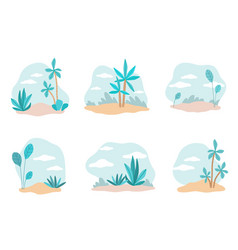 plants backdrops tropical trees and bushes vector image