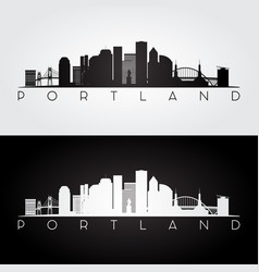 portland usa skyline and landmarks silhouette vector image
