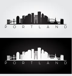 Portland usa skyline and landmarks silhouette vector