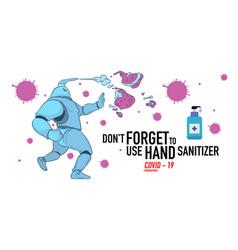 Printcartoon hand sanitizer superhero attack vector