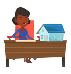 Real estate agent signing home purchase contract vector