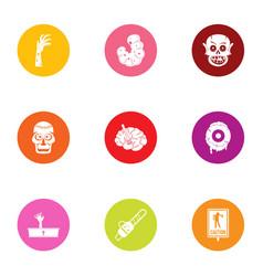 Risen dead icons set flat style vector