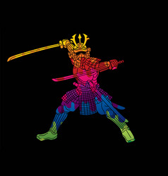 Samurai warrior with weapon and armor ronin vector