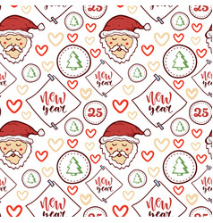 seamless pattern merry christmas and vector image