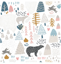 Seamless pattern with bunnypolar bear forest vector