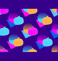 seamless pattern with pumpkins retro background vector image
