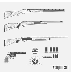 Set of weapons from pistols vector