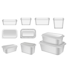 set realistic plastic container packaging vector image