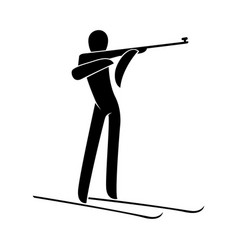 silhouette biathlon athlete shooting standing vector image