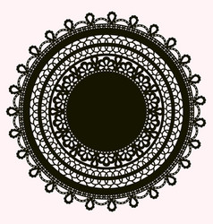 Silhouette of lace doily isolated on white vector