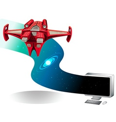 Spaceship flying out of the computer vector