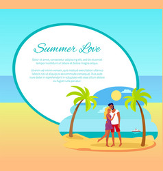 summer love web poster happy couple hugging palm vector image