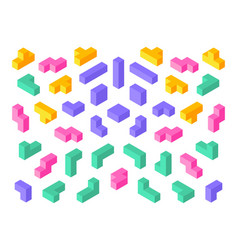 tetris shapes isometric 3d puzzle game elements vector image