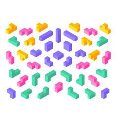 Tetris shapes isometric 3d puzzle game elements vector