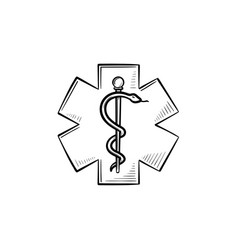 The star of life hand drawn outline doodle icon vector