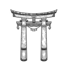 torii japanese gate sketch vector image