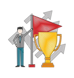 trophy cup with businessman and flag vector image