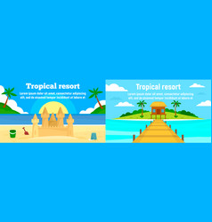 tropical resort banner set flat style vector image