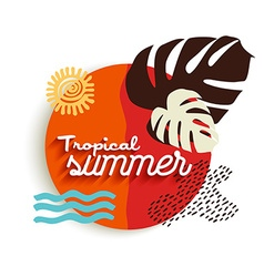 Tropical summer art of paradise vacation elements vector